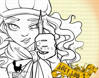 Digital Stamp- Lucy Loo 'drawing'- 300dpi JPEG/ PNG - MAC0268