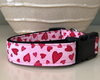 Dog Collar - Pink w Red Pink Random Hearts