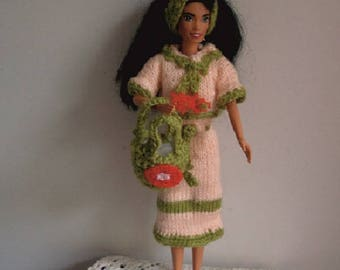 "clothes ""handmade"": skirt, sweater, basket, doll headband. Barbie"