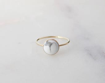Marble Ring - 14K Gold Filled, 8mm White Howlite Natural Stone