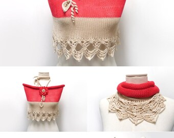 Hand Knit Color Block Cotton Capelet Shrug with Crochet Lace - Bright Red / Cherry and Sand Beige Wrap - Cotton Mini Skirt - Beach Skirt