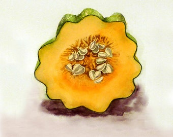 Vegetable Painting, Kitchen Prints, Botanical Art Prints, Acorn Squash Art, Artwork, Kitchen Wall art, Watercolor Painting