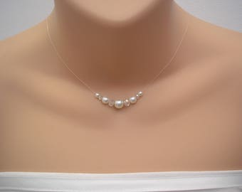 Dainty Graduated Floating Pearl & Crystal Illusion Necklace, Bridal Necklace, Bridesmaids Jewelry, Dainty Wedding Necklace Gold 9RINGP