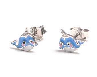Narwhal (Unicorn of the Seas) earrings in 925 sterling silver