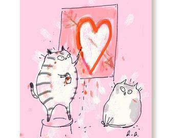 Big Heart Cat Card - Love Card - Valentine Card