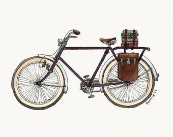 Library Bike - Watercolor Print - Art Print - Vintage Bike Art - Library Bike Print - Books - Travel