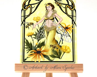 Queen Bee Fairy ACEO Art Card ATC