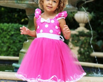 MINNIE MOUSE costume, Minnie Mouse birthday outfit, Minnie Mouse dress, Hot pink Minnie Mouse dress, 1st Birthday outfit, pink Minnie Mouse