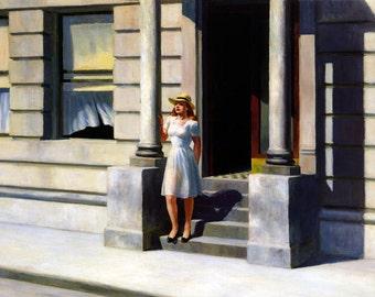 Hopper Summertime Lady Girl By American Painter Edward Hopper Fine Art Poster Repro FREE SHIPPING