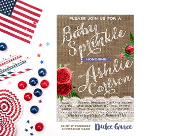 4th July baby sprinkle invitations, red blue baby sprinkle invites, printable baby sprinkle invitations, shabby baby sprinkle invitations
