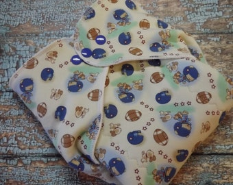 Organic Cotton Winged Prefold-- Football Bears Cloth Diaper Sized