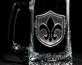Fleur De Lis Beer Mug Set, French, Paris Theme Decor (SET OF 4)