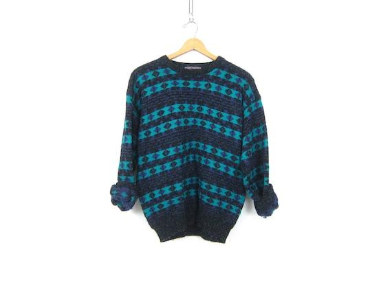 Retro Sweater Boyfriend Pullover Top Geometric Diamond knit Pattern Sweater Jumper Hipster Crewneck 1980s Sweater Unisex Medium