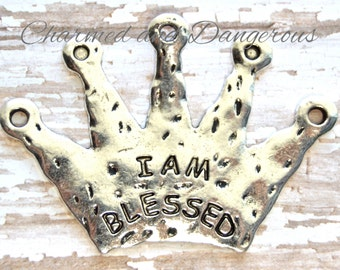 Pewter I Am Blessed Crown pendant (P8)