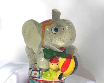 Vintage Circus Elephant Coin Bank for Children's Room or Nursery 1970's presented by Donellensvintage