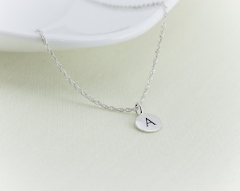 100% Sterling Silver Initial Letter Necklace, Initial Necklace, Stamped Personalized Necklace, Name, Sterling Silver, Circle Disc Charm