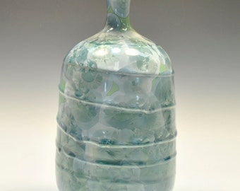 Green Crystalline Pottery Vase