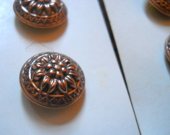 4 French bronze copper Metal Buttons - Set of Buttons - Made in Europe - Sunflower Button - Sewing Notions - Button Collection - Accessories