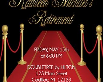Red Carpet Theme Retirement Invitation  • Adult Retirement Party Invitation
