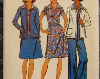 Vintage 1970s Misses Unlined Jacket, Top, Skirt And Pants...Look Slimmer Pattern Size 20 Sewing Pattern Simplicity 6167