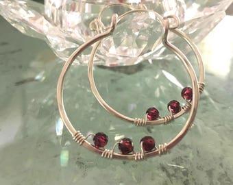 January Birthstone - Sterling Silver Hoop Earrings - Hoop Earrings - Garnet Earrings - Sterling Silver and Garnet Earrings.