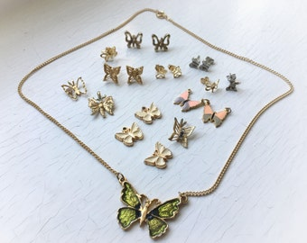 Butterfly Detash Lot Mixed Metals Gold Filled Vintage Craft Upcycle Jewelry Charm Collection 4pr Earrings Necklace