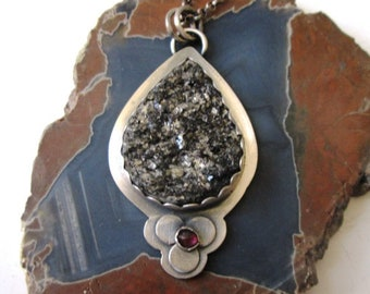 Raw Hematite Pendant with Rhodolite Garnet Sterling Silver Necklace Jewelry