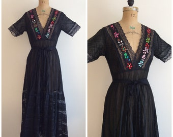 1950s Mexican Maxi Dress 50s Embroidered Lace Dress