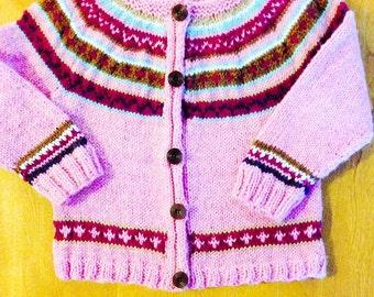 Fair Isle Sweater Size 5, Fair Isle Cardigan Sweater Size 6 - 8, Fair Isle Sweater Size 9- 10, Child Knit Cardigan Size 11 - 12