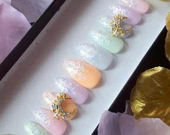 Fairy Kei Princess- press on nails, fake nails, false nails, reusable nails, kawaii nails