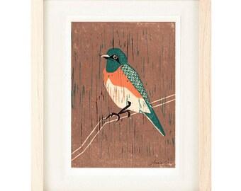 WESTERN BLUEBIRD Linocut Reproduction Art Print: 4 x 6, 5 x 7