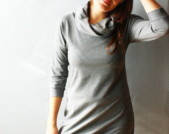 bamboo french terry turtleneck dress / made to order / by replicca / size S to XL / your choice of colour