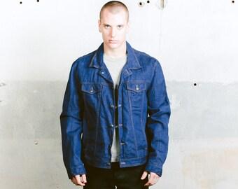 Oversize Jean Jacket . 1970s Vintage Denim Jacket Blue Mens Trucker Jacket Dark Wash Jean 70s Jacket Boyfriend Gift Outerwear . size Large L