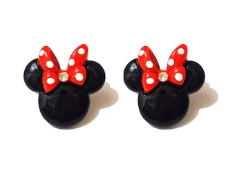 """Rock The Dots """"Modern Mouse"""" Medium Size Minnie Mouse Polymer Clay Earrings"""