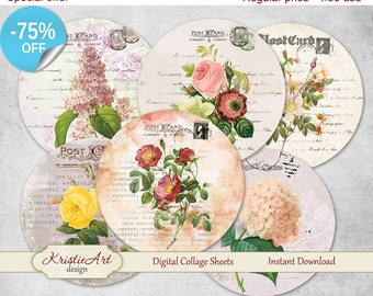 "75% OFF SALE Digital collage sheet ""Postcard Flowers"" - Printable Download Digital Tags Digital Vintage Digital Image ATC Card Vintage Cards"