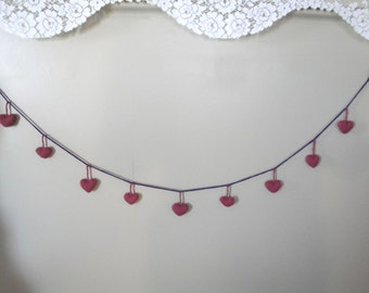 Heart Garland, Wall Hanging, Home Decoration, Nursery Girl, Hand Knit Hearts, Mauve Pink Purple, Mother's Day, Wedding