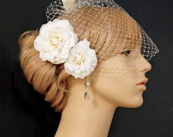 Wedding Hair Flower Set, Bridal Hair Accessories, Wedding Headpiece Romantic Duo 2 Piece Ivory Wedding Hair Flower Set