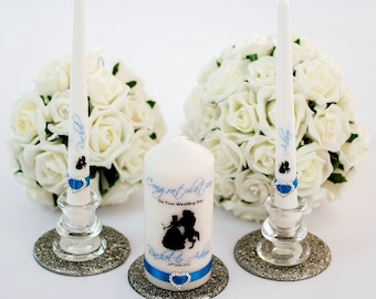 Personalised Disney Beauty & the Beast Unity Candle set wedding gift- different colours available