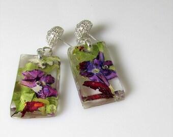 Purple Verbena,  Real Flower Earrings,   Pressed Flower Jewelry, Resin (3061)