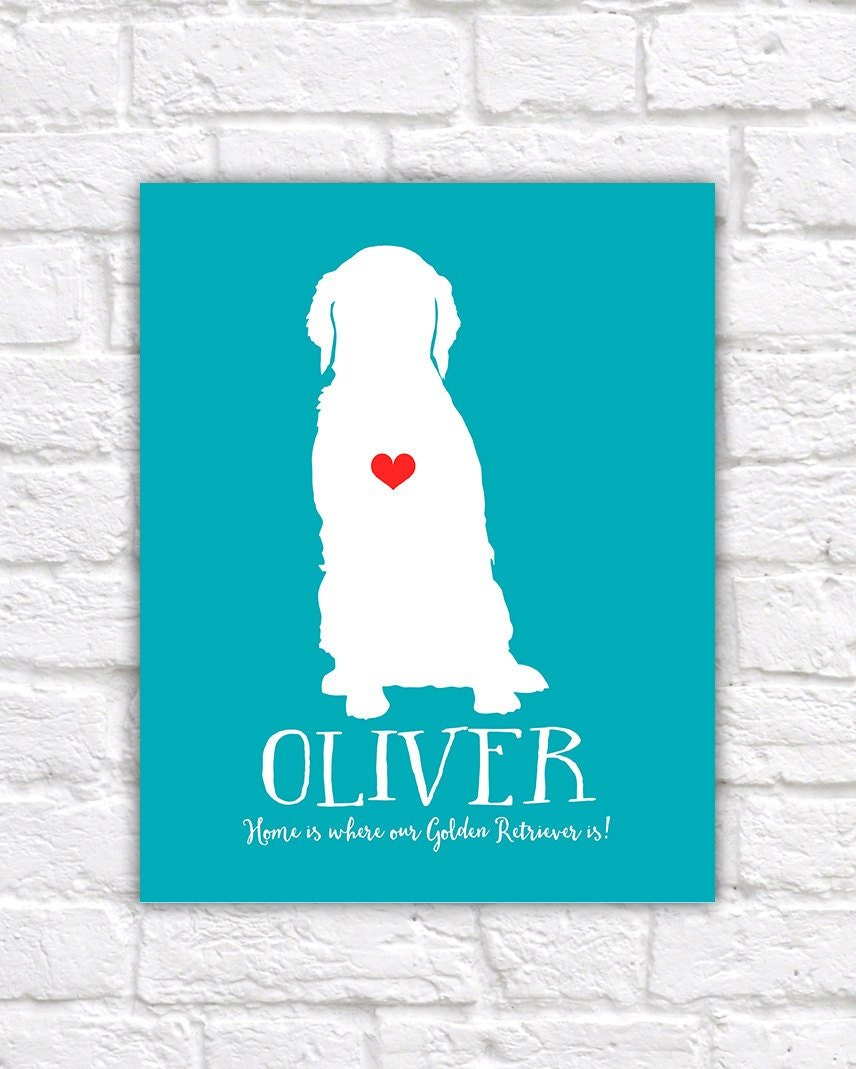 Golden Retriever Custom Pet Gift 8x10 Art Print - Personalized Pet Gift, Dog, Animal, Heart, Name, Funny, Cute, Silly, Gift for Friends, Mom