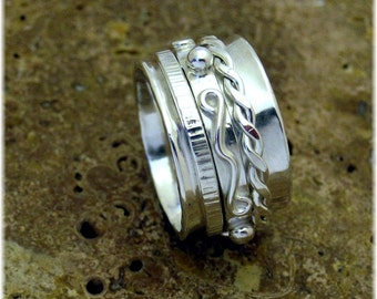 MADE TO ORDER - Twiddle Sterling Silver Spinner Ring - Handmade Original