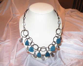 Sea Glass, Crystal and Gunmetal Necklace