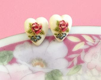 Heart Stud Earrings, Valentine's Day Gift For Her, Vintage Floral Limoges Earrings, Red Rose Earrings, Romantic Jewelry, KreatedByKelly