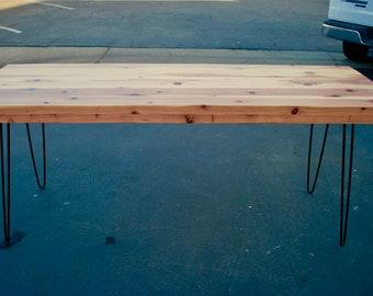 Modern Industrial Dining Table, Rustic Table, Wood Table, Metal Legs, Red  Wood