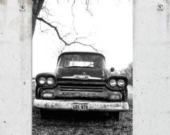 Black & White Vintage Chevy Truck - Old, Classic, Auto, Photography - Buda, TX - Fine Art Print - Canvas Gallery Wrap - Metal Print