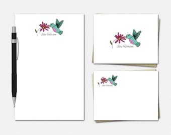 Hummingbird Stationery Set - Personalised Stationary - Hummingbird Notepad - Hummingbird Note Cards - Personalized Stationery Set