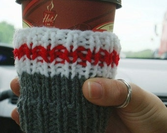 Work Sock Coffee Cozy Handknit Cup Cosy Take-Out Sleeve Stubbie Holder Candle Cover Home Decor Mens Gift Hot Coffee Cozy Hot Tea Cozy Farmer