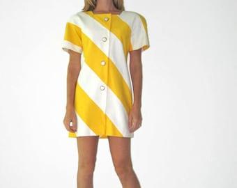 Vintage 1980's Party Shift Dress With Diagonal Stripe Yellow & White- Bold Geometric