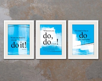 SET of 3XA3: Walt Disney you can do it quote poster. Motivational poster. Office wall decor. Positive thinking. Graduation gift (PO-3A3-025)