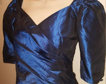 Rare women's genuine 1980's vintage metallic blue look, shiny glamour sweetheart blouse top XS-S 6 8 10 retro